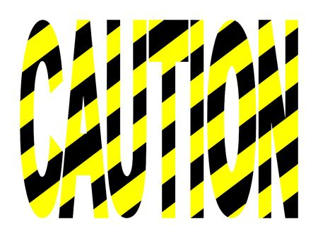 Caution text with yellow and black warning stripes Banco de Imagens