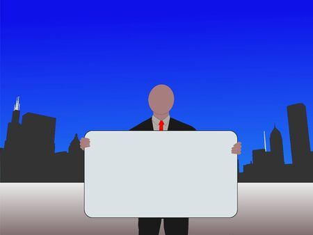 sears: business man with sign and Chicago skyline illustration