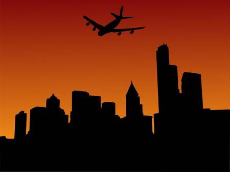 plane arriving in seattle at sunset illustration illustration