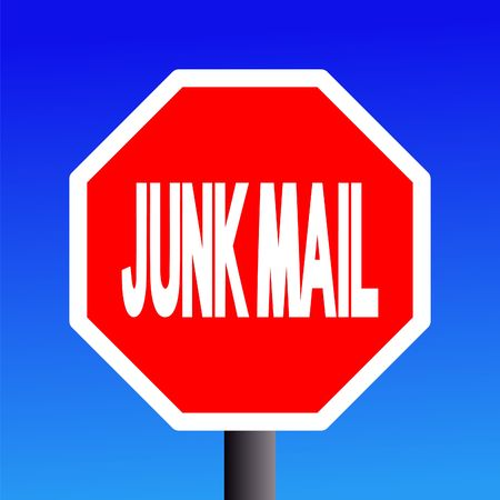 unsubscribe: stop Junk mail sign on blue sky illustration
