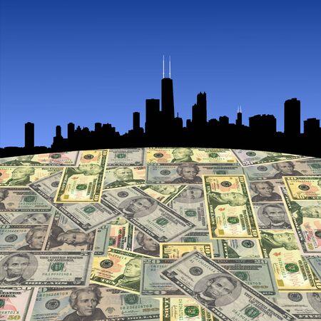 Chicago skyline with American dollars foreground illustration Stock Illustration - 3622472