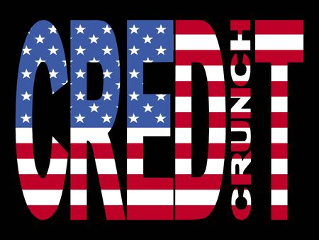 credit crunch: Credit crunch text with American flag illustration