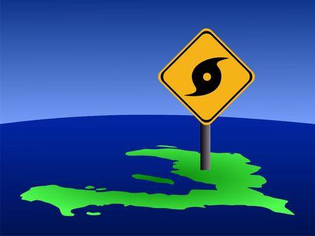 high damage: hurricane warning sign on Haiti map illustration Stock Photo