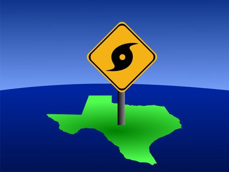 hurricane warning sign on Texas map illustration Stock Photo