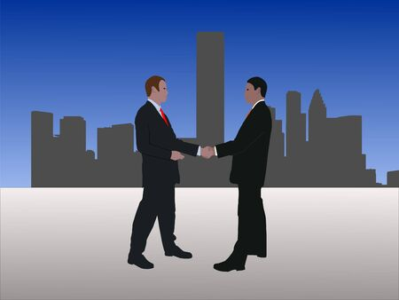 negotiator: business men meeting with handshake and Houston skyline Stock Photo