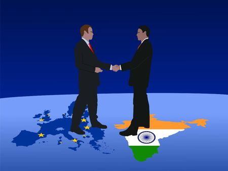 European and Indian business men meeting with handshake photo
