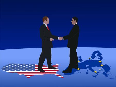 American and european business men meeting with handshake photo