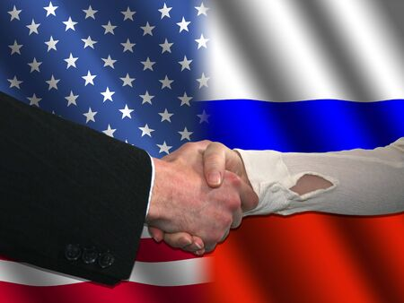 truce: handshake over American and Russian flags illustration
