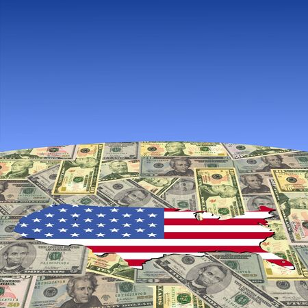 USA map flag on American dollars globe illustration illustration