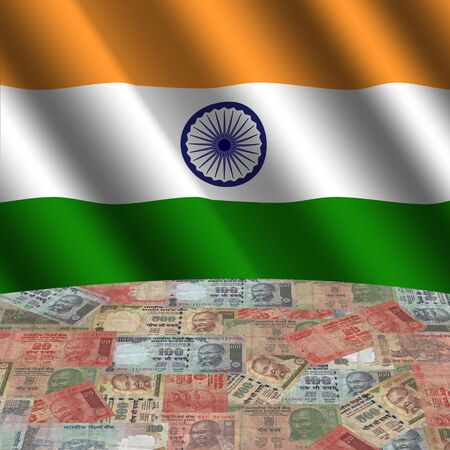 rippled: rippled flag with Indian Rupees globe illustration