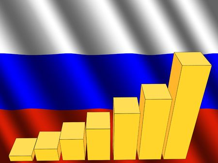 rippled: bar chart and rippled Russian flag illustration