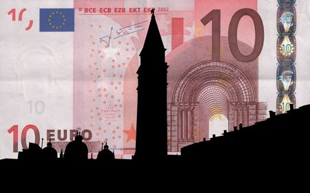 st marks square: St Marks Square with Campanile Venice against ten euro note illustration Stock Photo