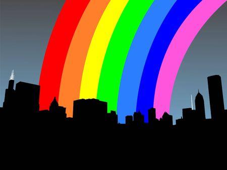 sears: Chicago skyline and colourful rainbow illustration