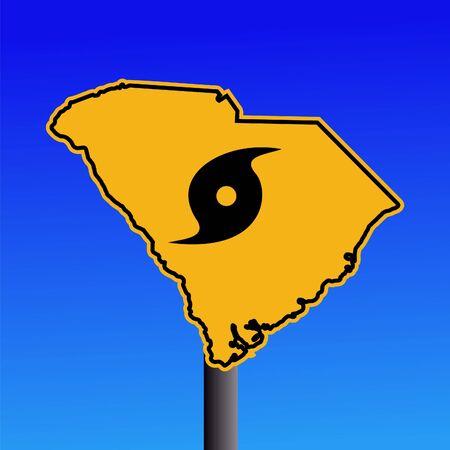 South Carolina warning sign with hurricane symbol on blue illustration illustration