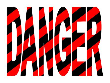 Danger text with red and black warning stripes