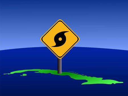 storm damage: hurricane warning sign on Cuba map illustration Stock Photo