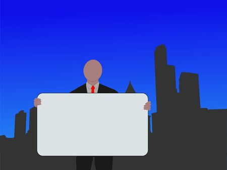 business man with sign and Seattle skyline illustration