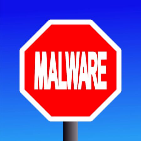 computer instruction: stop Malware sign on blue sky illustration