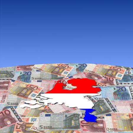 Netherlands map flag on euros globe illustration illustration