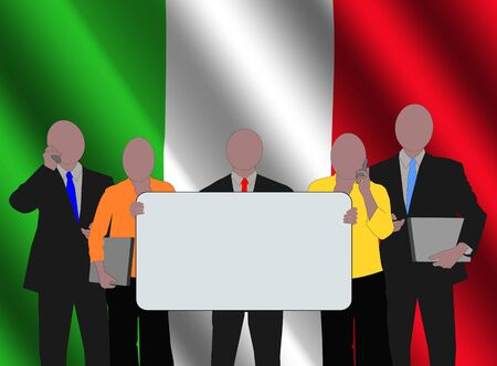 Italy business team with rippled flag illustration Stock Illustration - 3636095
