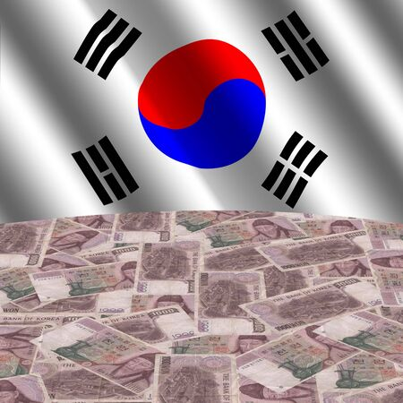 south korean won: rippled flag with korean currency globe illustration Stock Photo