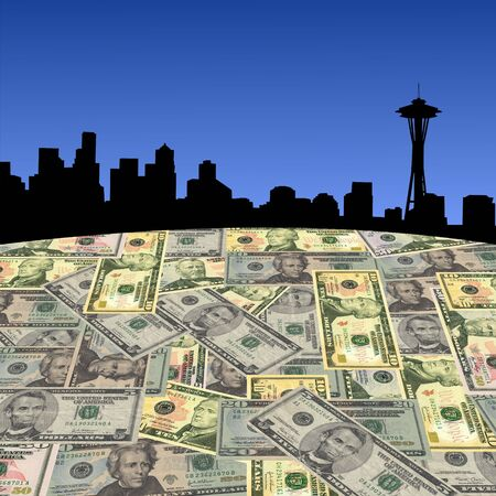 Seattle skyline with American dollars foreground illustration