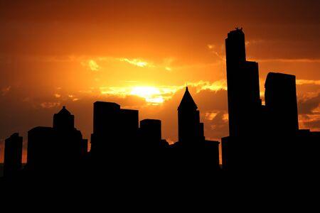 seattle skyline: Seattle skyline at sunset with beautiful sky illustration