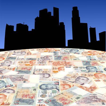 singapore skyline: Singapore skyline with Singaporean dollars foreground illustration