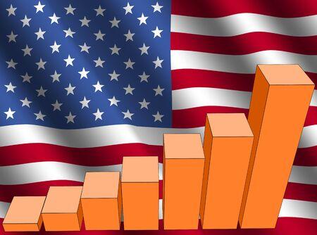 economic interest: bar chart and rippled American flag illustration