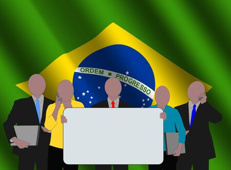 Brazilian business team with rippled flag illustration illustration