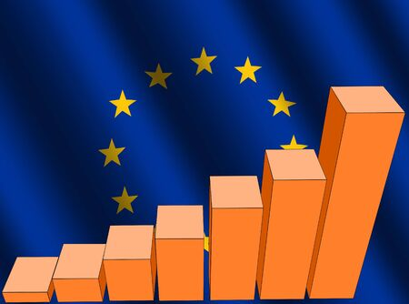 rippled: bar chart and rippled EU flag illustration