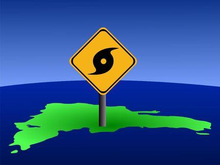 high damage: hurricane warning sign on Dominican Republic map illustration