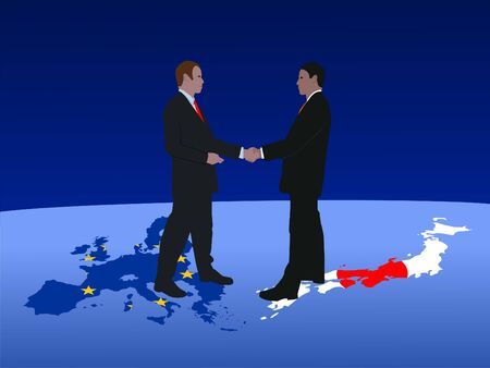 European and Japanese business men meeting with handshake photo