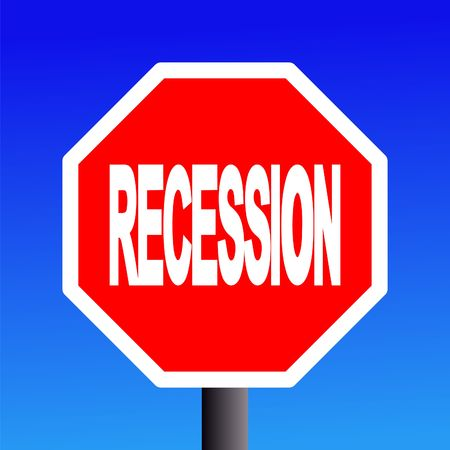 stop recession sign on blue sky illustration Stock Illustration - 3649348
