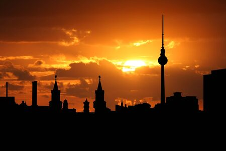 skyline at sunrise: Berlin skyline at sunset with beautiful sky illustration