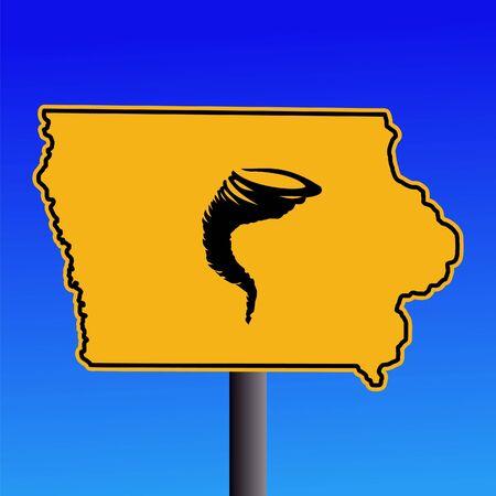 high damage: Iowa warning sign with tornado symbol on blue illustration Stock Photo
