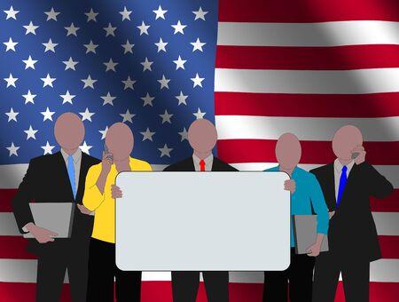 American business team with rippled flag illustration illustration