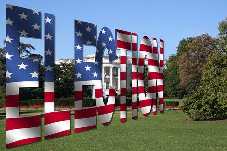 Election flag text with White House Washington DC Stock Photo - 3657202