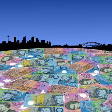 australian dollars: Sydney skyline with Australian dollars foreground illustration Stock Photo