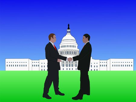 business men shaking hands with Capitol Building photo