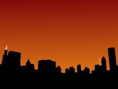 sears: Chicago skyline at sunset illustration