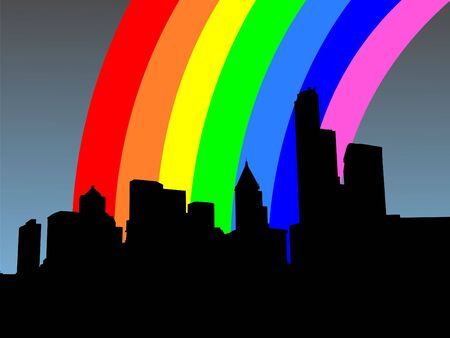 refracted: seattle skyline and colourful rainbow illustration