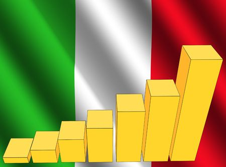 rippled: bar chart and rippled Italy flag illustration