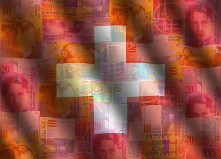 rippled currency and Swiss flag background illustration