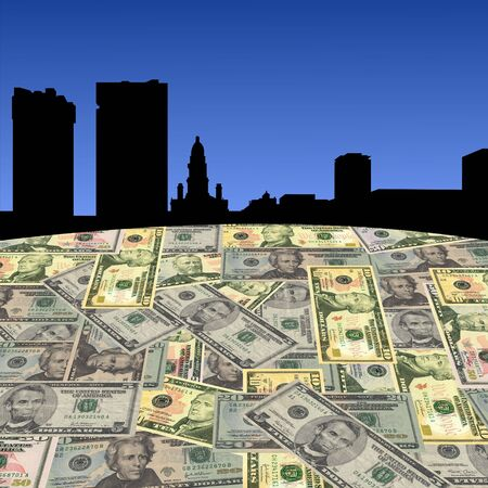Fort Worth skyline with American dollars foreground illustration illustration
