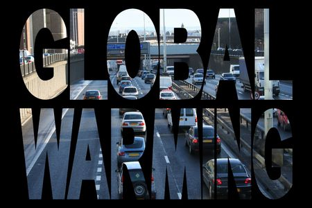 congested: Global warming text with congested freeway illustration