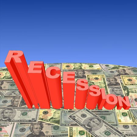Recession bar chart with American dollars globe illustration Stock Illustration - 3680179