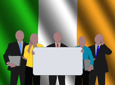 irish woman: Irish business team with rippled flag illustration Stock Photo