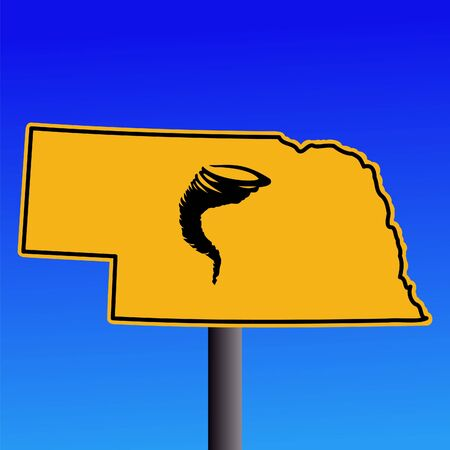 high damage: Nebraska warning sign with tornado symbol on blue illustration