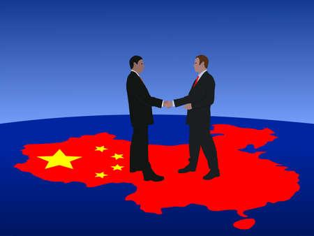 Chinese business men meeting with handshake Stock Photo - 3684539